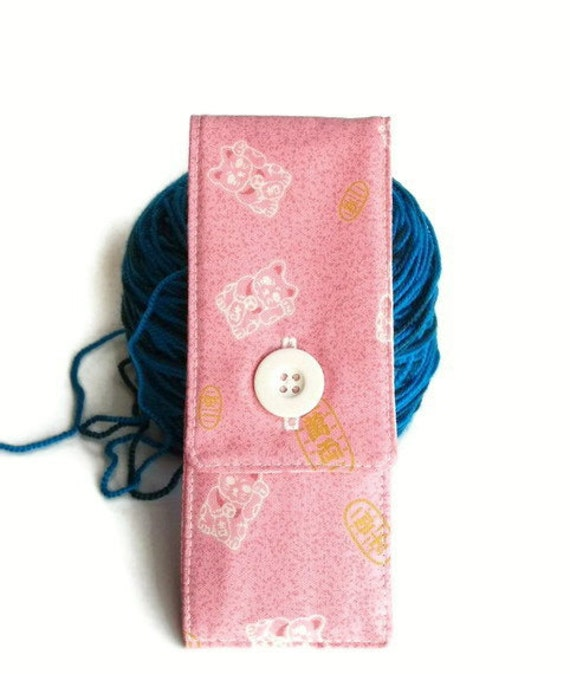 Small Sock Knitting Needles and Tools Mini Case, Small Sock and Go - Lucky Cats on pink
