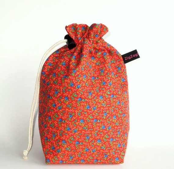 Drawstring Bag, Padded Knitting Project  Bag - Blue flowers on red