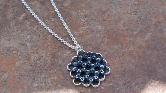 Silver and Blue Japanese Flower pendant