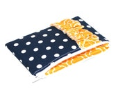 CLEARANCE Padded Zipper Pouch, Navy Dots, Gold