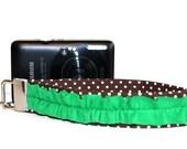 Camera Strap/ Small Digital Camera/ Point and Shoot Wrist Strap/Ruffled: Green and Brown Dots