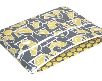 SALE iPad Case, Zippered Cover: Gray and Yellow Birds
