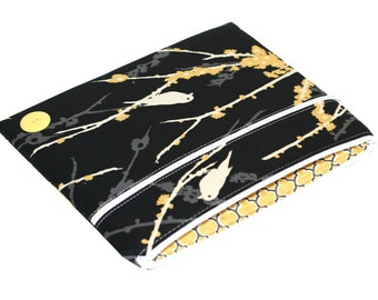 CLEARANCE iPad 1,2,3,4 Case, Zippered iPad Cover, Black, Gray and Yellow Sparrows, Birds