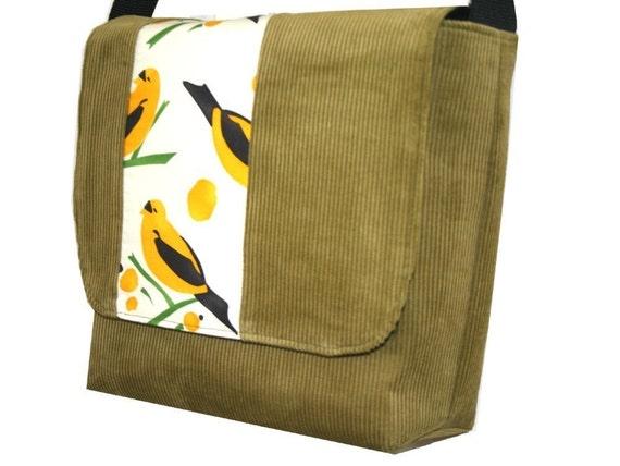 Olive Green Corduroy Bird Messenger Bag, Purse