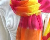 Tangerine Dream-Hand Dyed Silk 'Chiffon Scarf for Women.Spring and Summer Fashion Accessory in Tangerine Fuschia and Lemon Yellow Citrus