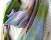 Spring Meadow-Infinity loop scarf for women spring and summer fashion accessory hand dyed watercolor effect