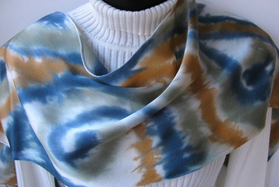 Hand Painted Fashion- Luxury Silk  Scarf for Women-Golden Swirl-womens fall and winter fashion accessory