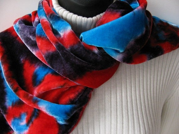 HOLD FOR nOOR-Jokers Wild-Hand Painted Velvet Scarf-Winter Fashion Accessory for women