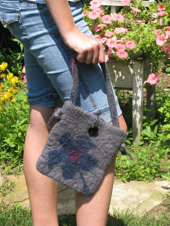 Reserved-Hand Felted Wool Purse- Charcoal Gray with Teal Flower-Winter fashion accessory for women and teens