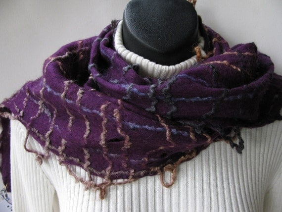 Hand Felted Deep Purple Plum Merino Wool Scarf with Plaid Design for Women winter fashion scarf