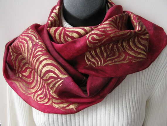 Hand Dyed Silk Scarf for Women-Be my Valentine-Winter Red Holiday and Office fashion accessory maroon red and gold scarf