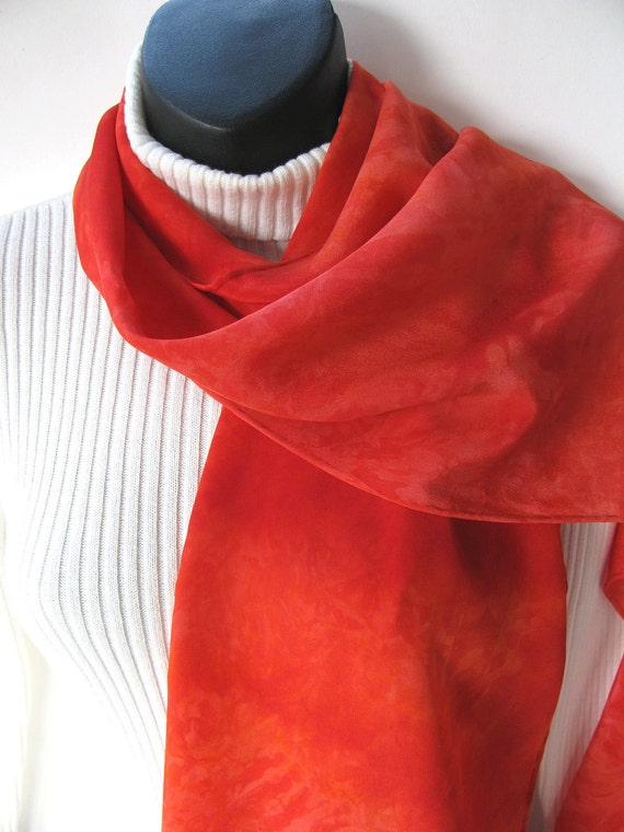 Tangerine-Hand Dyed Luxurious Silk Scarf for Women-Womens scarves-Spring scarf