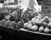 Market Black and White Print Series, You Choose Photograph Italian Market Fruit Signs Philadelphia