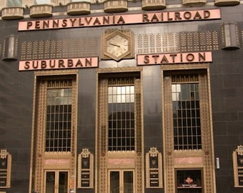 Suburban Train Station Facade with Bikes Photograph