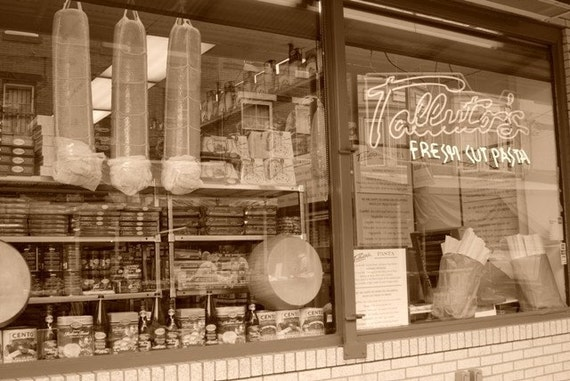 Italian Market Sepia Toned and Black and White Series, You Choose Mural, Shop Window, Fruit Stand, Pizza, Vegetables Photograph