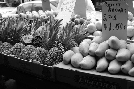 City Market Black and White Print Italian Market Fruit Signs Philadelphia