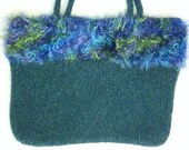 Green with glittering fun fur hand knit felted tote bag - PROCEEDS FOR CHARITY