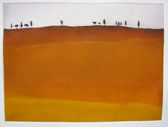 Fall Landscape - Original Mezzotint Landscape