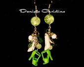 Green and White Barbie Shoe Earrings with Pearls and Chandelier Prisms