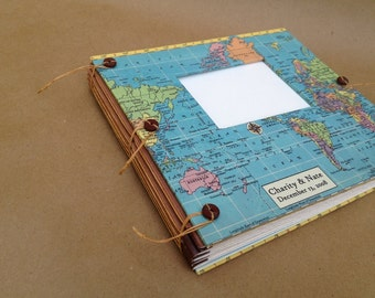 Destination Wedding Guest Book - Photo Album with Custom Map -- Personalized for You