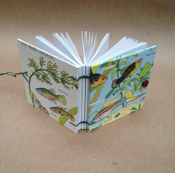 Handbound Book Mini-Book, Tiny Diary, Small Notebook  - Tropical Fish