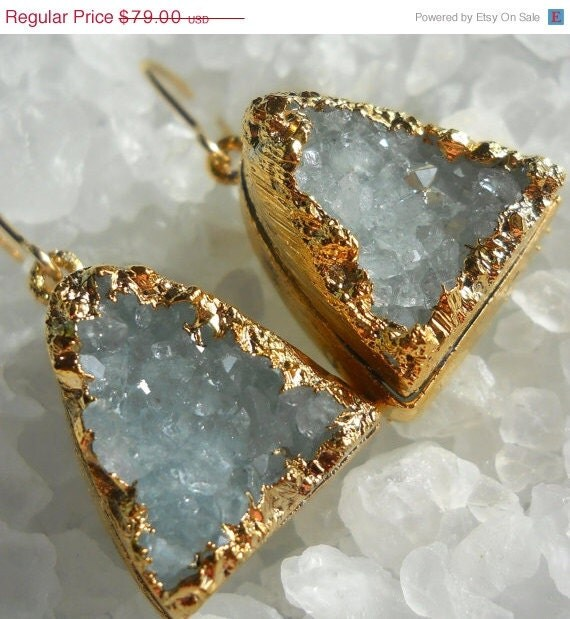 SHOP CLOSING SALE Aqua druzy earrings, 18k gold dipped