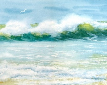 Beach Visitor seascape giclee print wave with seagull