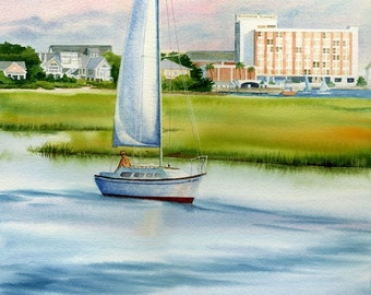 Blockade Runner Hotel behind a Sailboat at Wrightsville Beach