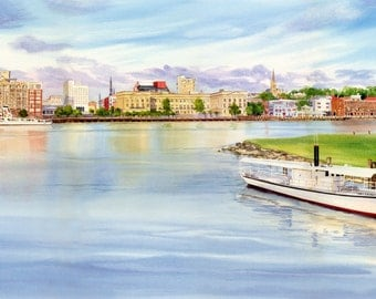Heart of Wilmington Giclee of Cape Fear River, Wilmington