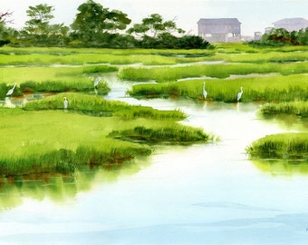 Marsh Gathering of white egrets giclee print from a watercolor