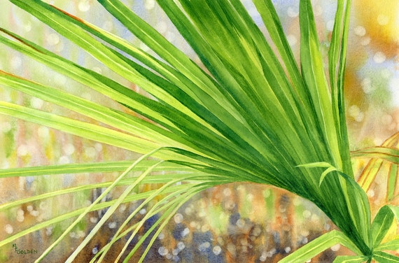 Palm Frond with sunlight shining through