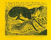 Escape by a Hare- Greyhound Art Print- Sale