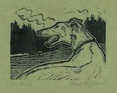 Far Afield- Greyhound Linocut Art-  SALE