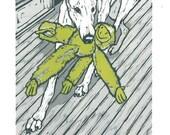 Monkey Business- Greyhound Woodcut Relief Print- SALE