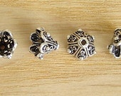 Bali Style Sterling Silver 8mm Cone Bead Caps, 4 pieces