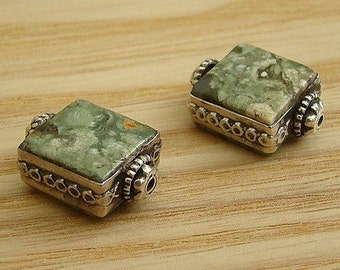 SEMI PRECIOUSE RHYOLITE with Decorative Sterling Silver Frame