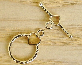2 Sets Brass Anti-Tarnish Toggle Ring Round Heart and Bar Toggle Set
