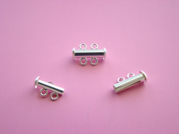 SLIDE AND MULTI STRAND STERLING TUBE CLASP WITH 2 RINGS PKG OF SET