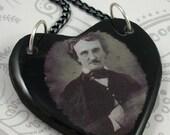 Edgar Allan Poe Heart Pendant Necklace