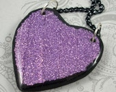 Purple Metallic Ribbon Heart Pendant Necklace