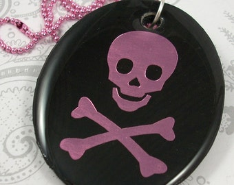 Pink Skull and Crossbones Pendant Necklace