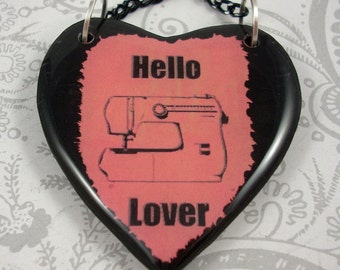 Pink Sewing Machine Heart Pendant Necklace