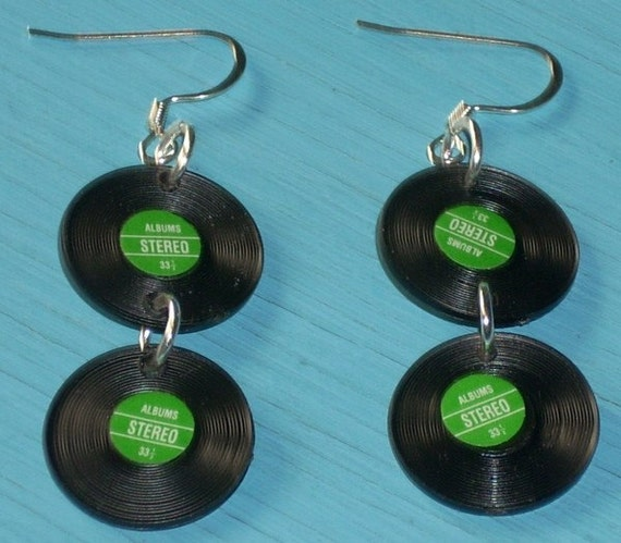 You spin me right round - in Green - Record Earrings