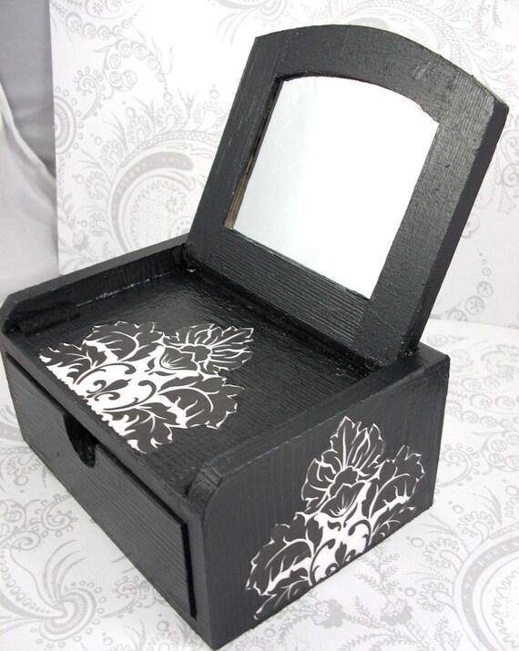 Black and White Damask Stash Jewelry Box