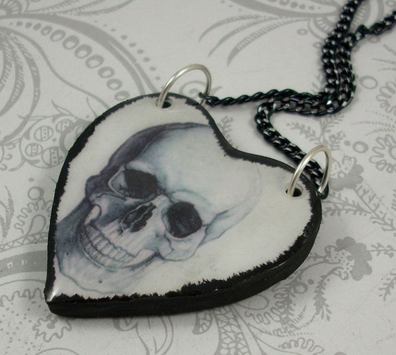 Anatomical Skull Heart Pendant Necklace