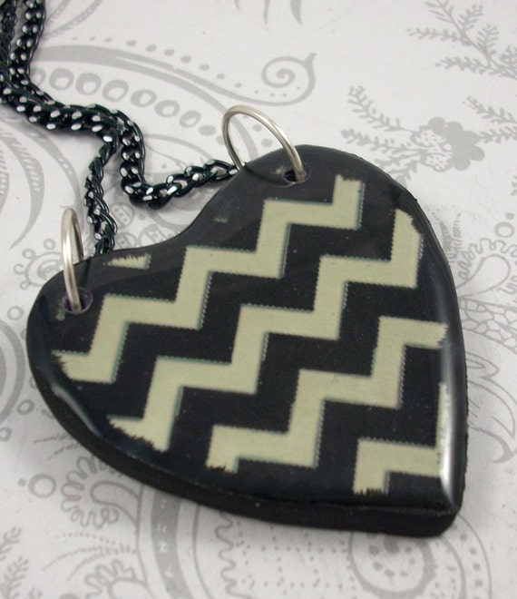 Black and White Chevron Striped Heart Pendant Necklace