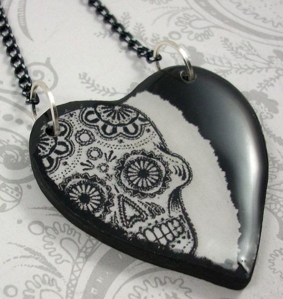 Sugar Skull Heart Pendant Necklace