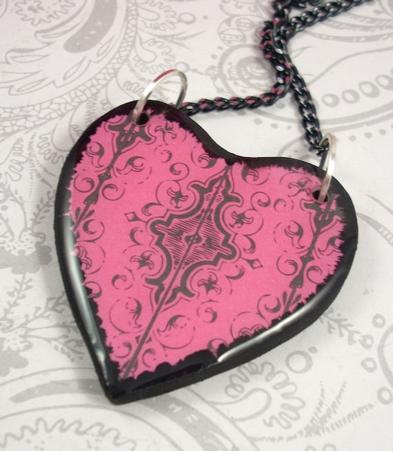 Black and Pink Filigree Heart Pendant Necklace