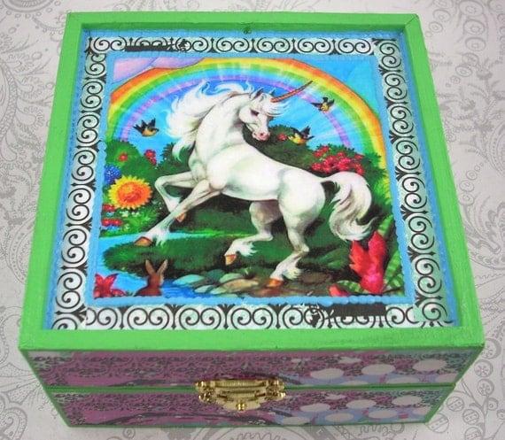 Unicorns and Rainbows Jewelry Stash Box