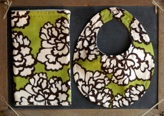 Bib and Burp SET- Olive and brown flowers